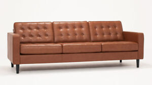 EQ3 3-seat Leather Sofa - nearly new