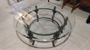"""Glass and wrought iron coffee table,. 42"""" round by 17"""" high"""