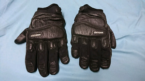 Black icon motorcycle riding gloves for sale