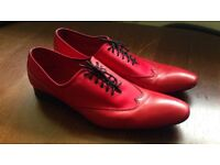 Mens red italian leather shoes