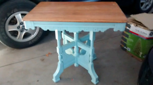 """Antique table country chic aqua and natural solid maple 30""""x 24"""""""