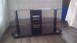 black glass modern 3 tiered entertainment stand