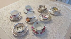 Collectable China Cup & Saucer Sets - 7 Sets - $20.00 each