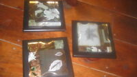 GLASS ENGRAVED/SKETCHED WALL HANGINGS--NEW