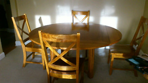 Solid  Maple table and 4 chairs