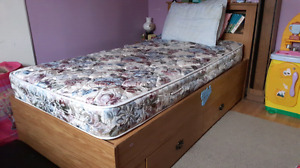 Captains Bed with Bookcase Headboard