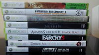Collection of Xbox 360 games.