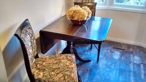 Drop Leaf Walnut Table/ 2 Wood Chairs
