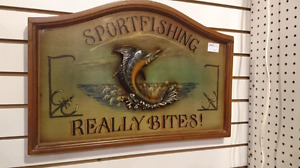 Collectible sport fishing really bites wooden sign man cave