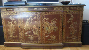 Chinese / Oriental Gold-painted Stereo / TV Cabinet