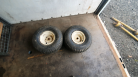 Pair of new 20 x 10.00 r8 wheels with turf tyres ride on tractor