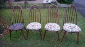 4 ercol Quaker Chairs and 3 ercol seat pads