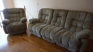 Beige reclining sofa-$350 and reclining chair-$400