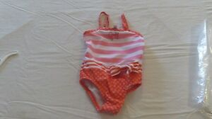 New Baby Girl Juicy Couture Swimsuit Orange/Stripe Size 6-12 Mth