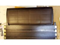 Superking size bed, 2 x bedside chest of drawers and a leather ottoman