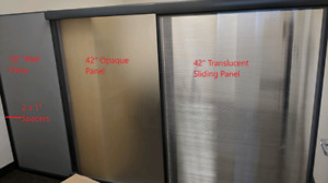 Wall partition and sliding glass privacy screen