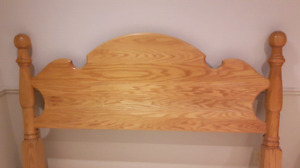 Queen Size Solid Oak Headboard Footboard Frame