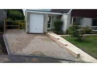 Driveways, patios and turfing.