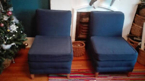 Pair of navy blue slipper chairs