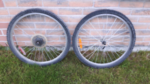 Mountain bike wheels and tires