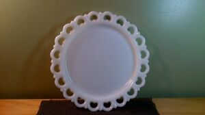 REDUCED! Vintage Anchor Hocking Milk Glass Cake/Serving Platter