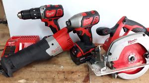 Plusieurs outils : Milwaukee,Makita,Maximum, outils à air...