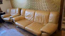 Real leather 3 seat sofa and armchair.