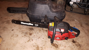 Homelite  27av chainsaw with case. Needs a bit of work.