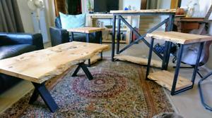 (Save $100)Live Edge Ipswich Pine Living Room Set