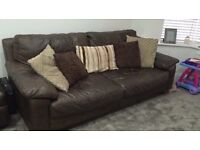 3 seater brown leather sofa. (DFS)