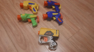 Small nerf guns with bullets.