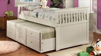 Trundle bed with 3 drawers in brown or white solide wood