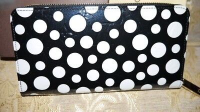 AUTH LOUIS VUITTON MONOGRAM VERNIS DOTS INFINITY ZIPPY BLACK WALLET YAYOI KUSAMA