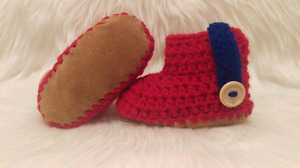Crochet boots! Leather sole!