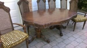 Vintage pedestal  dining table and chairs