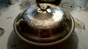 Large Silver Covered Dish with Pyrex Glass Dish Inside