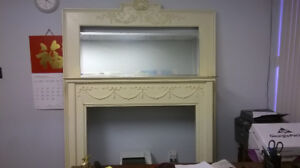 Antique Mantelpiece Fireplace with Mirror + Metal Screen