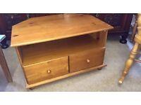 Pine corner tv unit with 2 drawers vgc