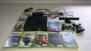 Kinect Xbox 360 w/ 250gb hdd and 9 games!