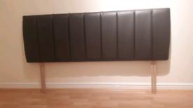 Brown faux leather kingsize head board