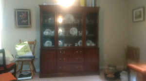 Hutch and buffet with china crystal and silver