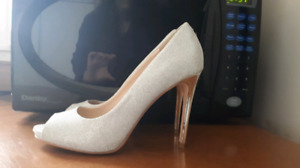Size 8 - Silver Shoes & Black Purse