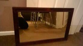 Mahogany framed mirror,large,heavy £15