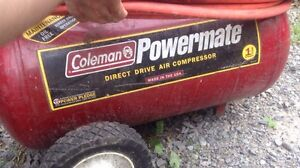 11 gallon Coleman compressor and various detail tools.
