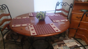Kitchen table and chairs wrought iron