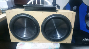 Two 12-inch Subs with box and amp all wired
