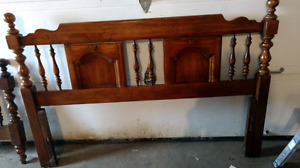 Solid wood double headboard and footboard