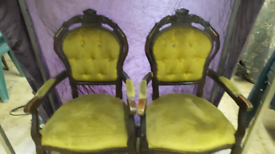 Antique king and queen throne chairs