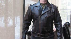 New distressed brown leather Marlon Brando biker jacket