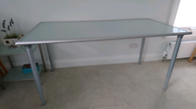 Desk / table 160x78 frosted glass top